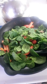 Cooking up my breaky. Lots of veg