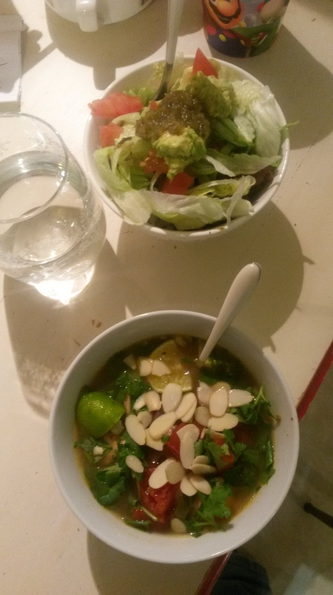 My version of the soup and taco bowl. The soup ended up being so filling I did not need the taco bowl.