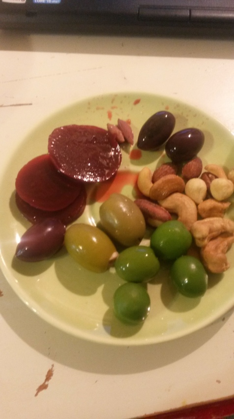 My late night snack with my very good friend. We both love pickled beets and olives. Went a little heavy on the healthy fats this round.