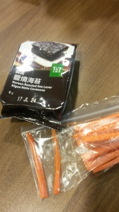 Our snack after swimming. Seaweed and carrots