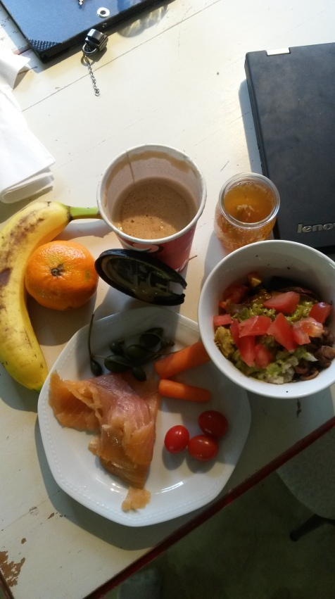 Lunch! Bullet proof coffee, kombucha, leftover taco bowl and buffalo chicken, salmon, veg and fruits