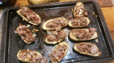 Potoe skins with only the sausage and sauce before baking