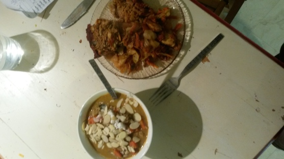 Leftover chicken cabbage saute and cauliflower soup