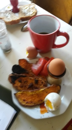 What I actually ate, smoked salmon and the hard boiled and runny egg.