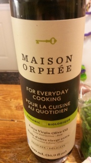 My new olive oil I found. Organic and not too strong of a taste.