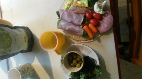 Lunch was ham wraps, olives, kale chips, veggies and remember me tea