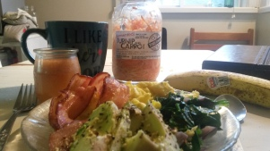 Yummy bacon, eggs, spinach, onions and umami sprinkle covered avocado with fermented carrot and turnip.