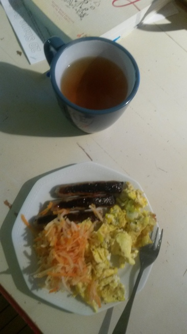 My breakfast of eggs and sausage with fermented carrot and turnip. And a Peppy Peppermint tea.