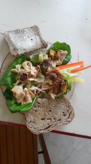 Lunch! One piece of organic bread with half butter half ghee, paleo chicken salad in lettuce cups with carrots and cucumber. YUMMO! And I have to say I now like Ghee better than butter!