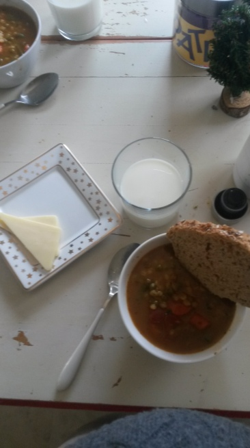 Lunch: Homemade Veggie soup and new bread with cheese and fresh milk