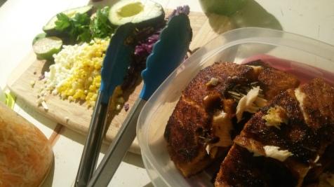 Blackened salmon and corn