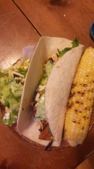 A four tortilla and a lettuce wrap. The full cob was definitely too much corn.