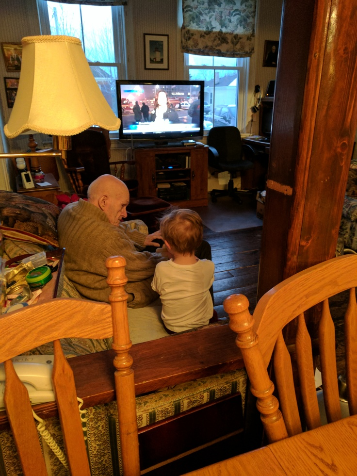 Boy#2 and his Great Grandpa having a chat before dinner