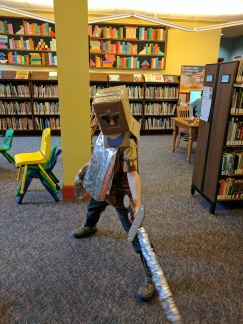 Boy #1 made a suit of armour at Midevil March break at our Library