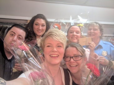 Most of our cast receiving beautiful flowers from a very dear friend. Thank you Shauna!!